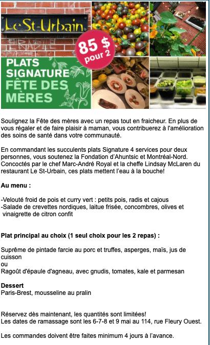 """Le menu de la fête des Mères du Saint-Urbain """"Plats signature"""" au profit de la Fondation Ahuntsic-Montréal-Nord"""